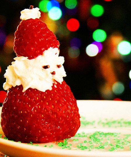 Santa Claus with Strawberry, whipped cream and Raspberry hat!  Yummmmm