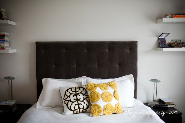 """diy west elm upholstered headboard; """"...thick string and went through the holes on the back, pulled it tight and tied it off…"""""""
