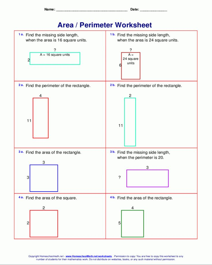 Free Printable 6th Grade Math Worksheet Area Valume in