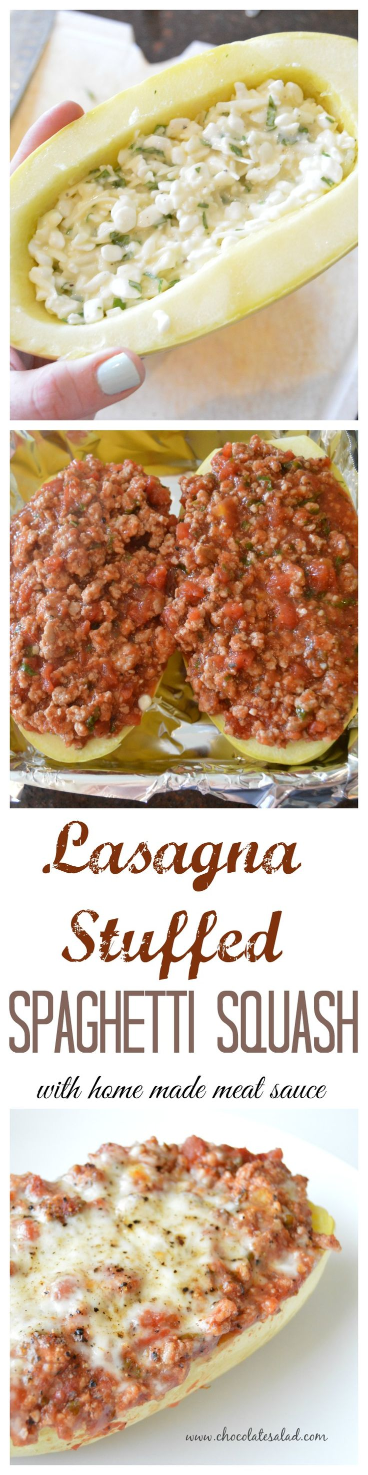 A gluten free and low carb alternative to traditional lasagna! Perfect for the harvest season. Lasagna Stuffed Spaghetti Squash on chocolatesalad.com