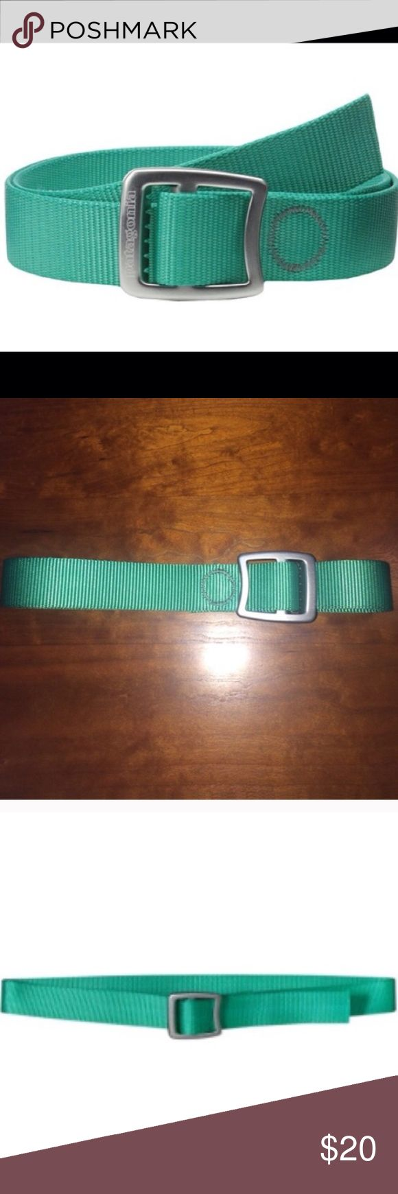 """🎉2xHP Men's Patagonia Tech Web Belt Green 🎉2x HOST PICK Patagonia Tech Web Belt. Bright Green Color. The burly Tech Web Belt has a forged aluminum buckle that's lightweight, strong, & cinches tight for a reliable hitch; also handy a bottle opener. Strong and quick-drying 1½"""" polyester webbing doubles as an emergency lash strap Forged aluminum buckle is tough, lightweight & notched to pry off a bottle cap Belt length: 46.5"""" In very good condition. Please ask any questions  💲Open To…"""