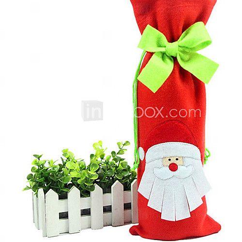 Санта Клаус галстук-бабочка в крышки бутылки вина ткани рождества обеденный стол украшения партии (1 шт) - RUB p. 358.73