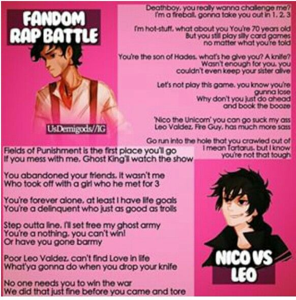 Fandom Rap Battle: Leo vs Nico. Who won? >> I'm really sorry baby but.....Leo won