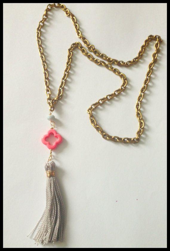 Long Antique Bronze Chain Necklace  Gray by ClaribellasDesigns, $22.00