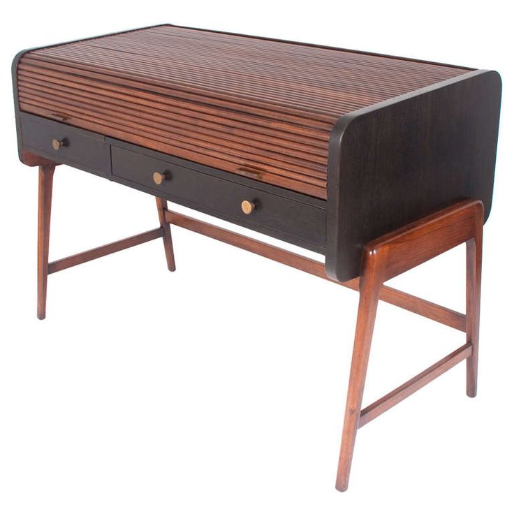 Mid Century Modern Tambour Roll Top Desk By Sligh Lowry