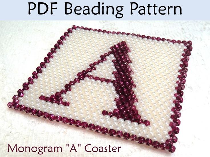 Peyote Beading Pattern - Monogram A Coaster Tutorial