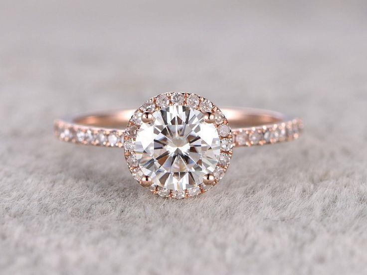Moissanite Engagement ring Rose gold, Diamond wedding band, 14k, 6.5mm Round Cut, Gemstone Promise Bridal Ring, Halo ring, Anniversary ring