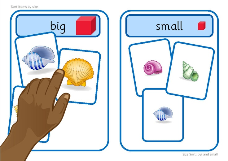 Printable activity, with a summer/beach theme, suitable for workstation use. Learners sort images into big or small groups. The base boards could also be used when sorting other items by size.