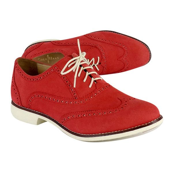 Pre-owned Cole Haan Red Suede Oxfords ($69) ❤ liked on Polyvore featuring shoes, oxfords, wingtip oxfords, wingtip shoes, red shoes, wingtip oxford shoes and oxford shoes