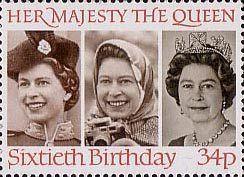 60th Birthday of Queen Elizabeth II 34p Stamp (1986) Queen Elizabeth II in 1958, 1973 and 1982