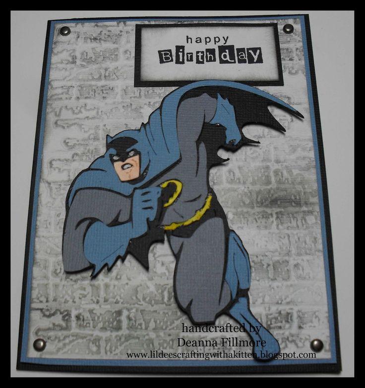 Batman birthday card using cricut cartridge Batman: the Brave and the Bold.