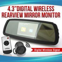 "Digital WIRELESS 4.3"" Rearview mirror MONITOR Car REVERSING CAMERA REARVIEW KIT"