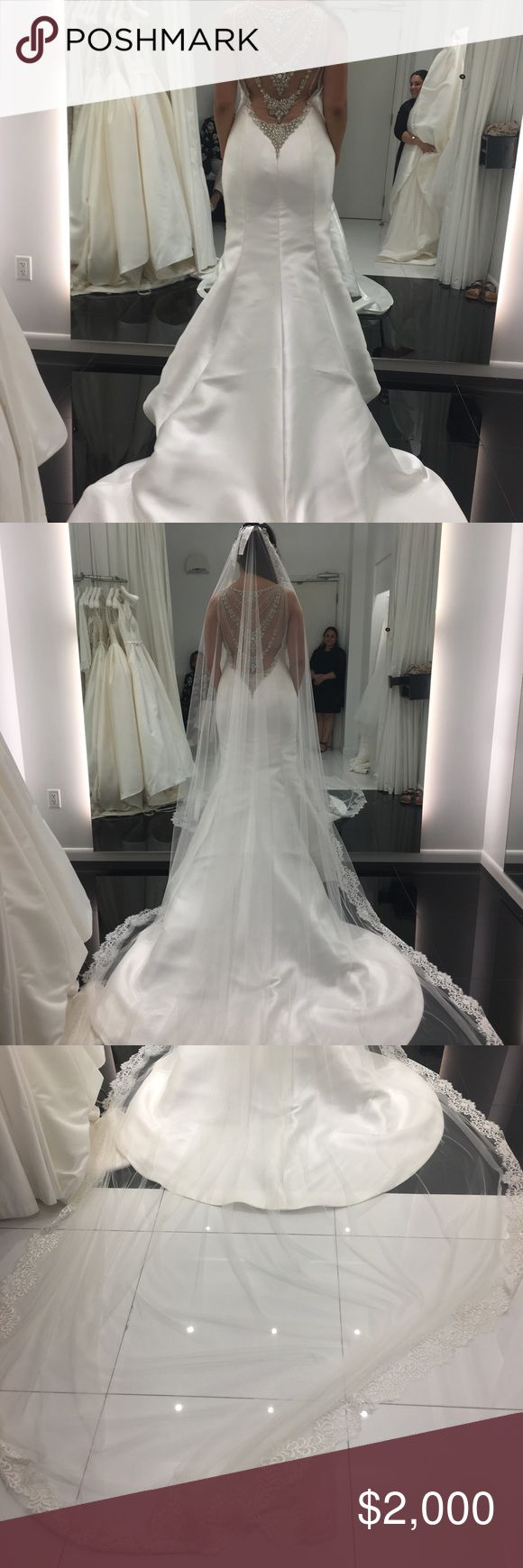 Wedding Dress and Veil beautiful wedding dress with her veil, made in Spain of t… – My Posh Picks