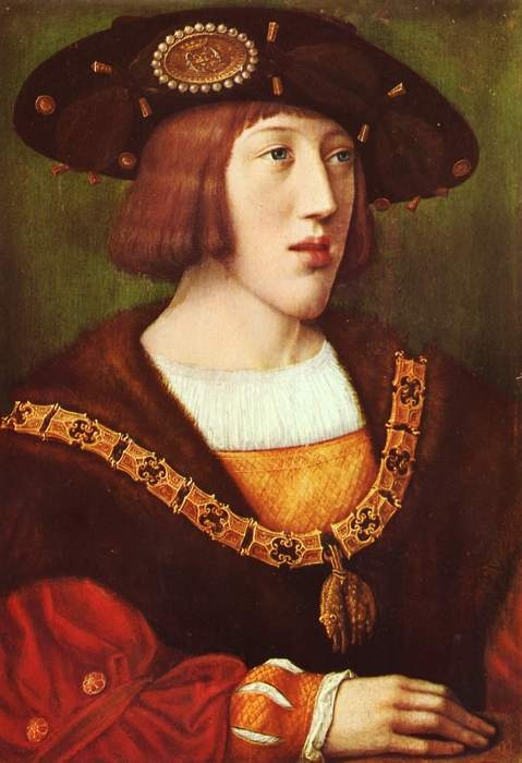 A portrait of a young Charles V, nephew of Catherine of Aragon and Holy Roman Emperor.