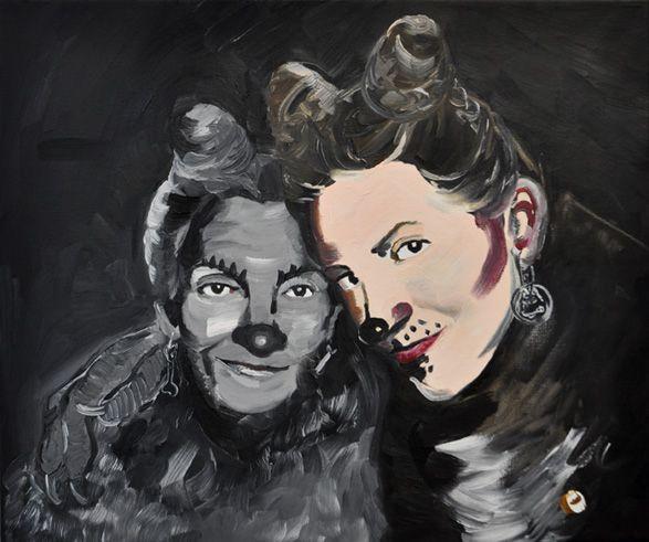 Two Faithful Dogs (Self Portrait with Mum), 2012, oil on canvas, 46 x 55 cm  / Dwa wierne psy (autoportret z mamą), 2012, olej na płótnie, 46 x 55 cm