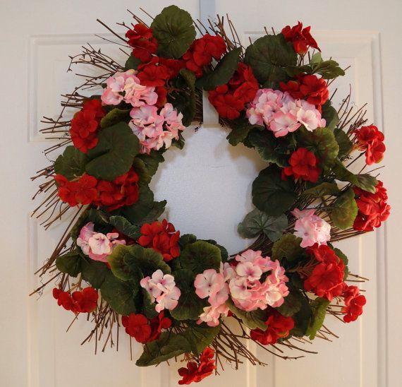 Home Decor Wreaths: Summer Wreath, Red Wreaths, Geranium Wreath, Red Pink