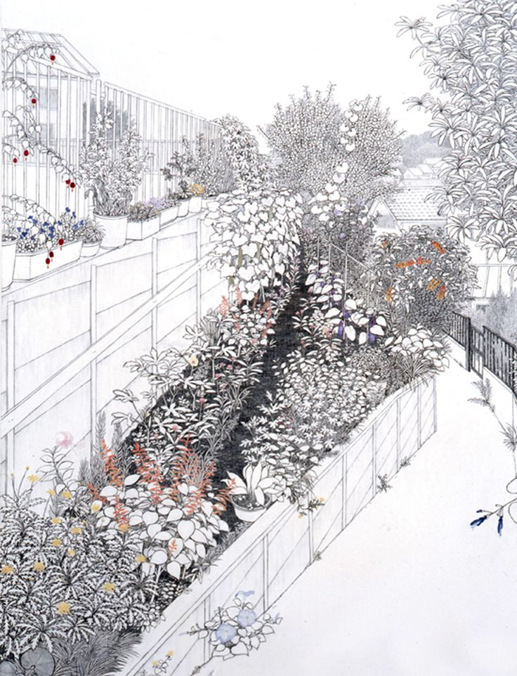 Yukiko Suto | Roadside Garden 道端菜園 2009 Oil, pencil and plaster on canvas mounted on panel 145.5 x 112 cm