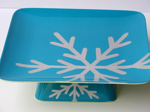 Cake stand out of plastic bowl and plate from Target - great idea for gifting cookies, etc