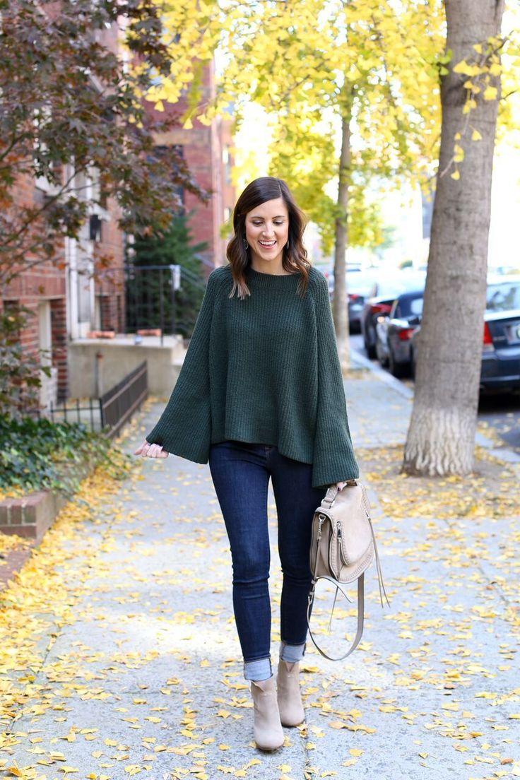 Green Bell Sleeve Top