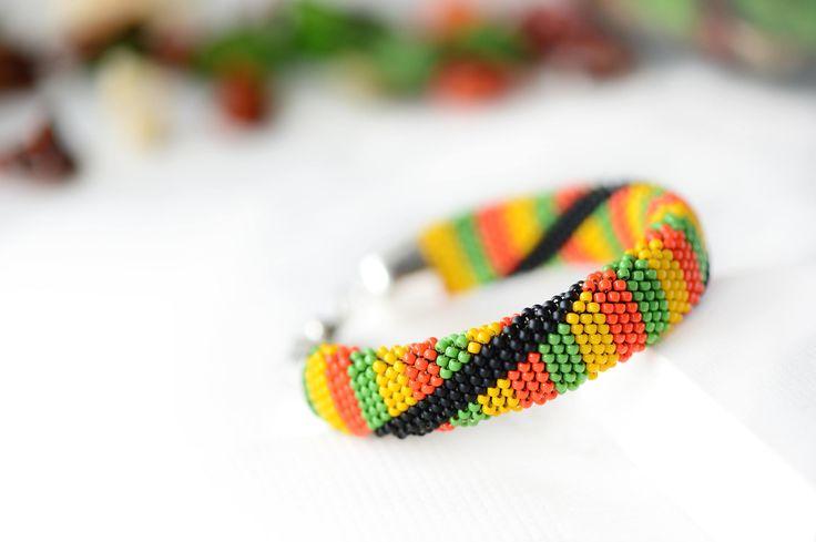 "Bead Crochet Bracelet ""Rastafarian"" - Beaded bracelet, Jamaican Bracelet, Seed Bead Bracelet, Reggae Style, Rasta Jewelry, Everyday Bracelet by Ukigumo on Etsy"