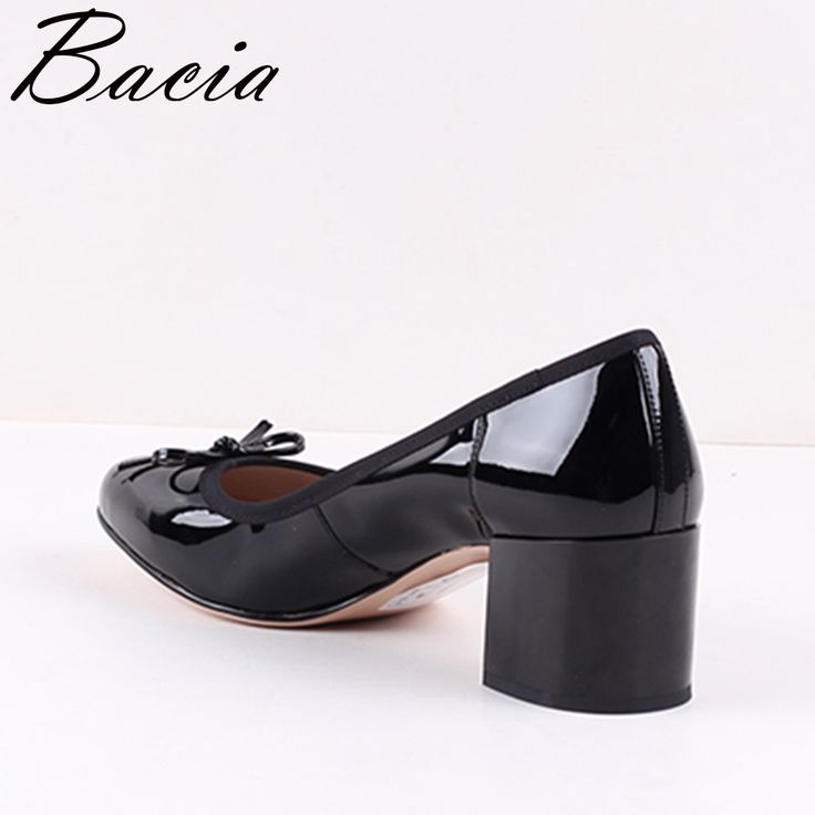 Bacia Women Shoes Black Patent Leather Ladies High Heels Shoes With Bowknot thick Heel Pumps Genuine. Click visit to buy #WomenHighHeels