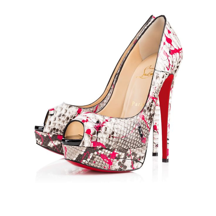 christian louboutin lady peep python red sole pump fuchsia/black