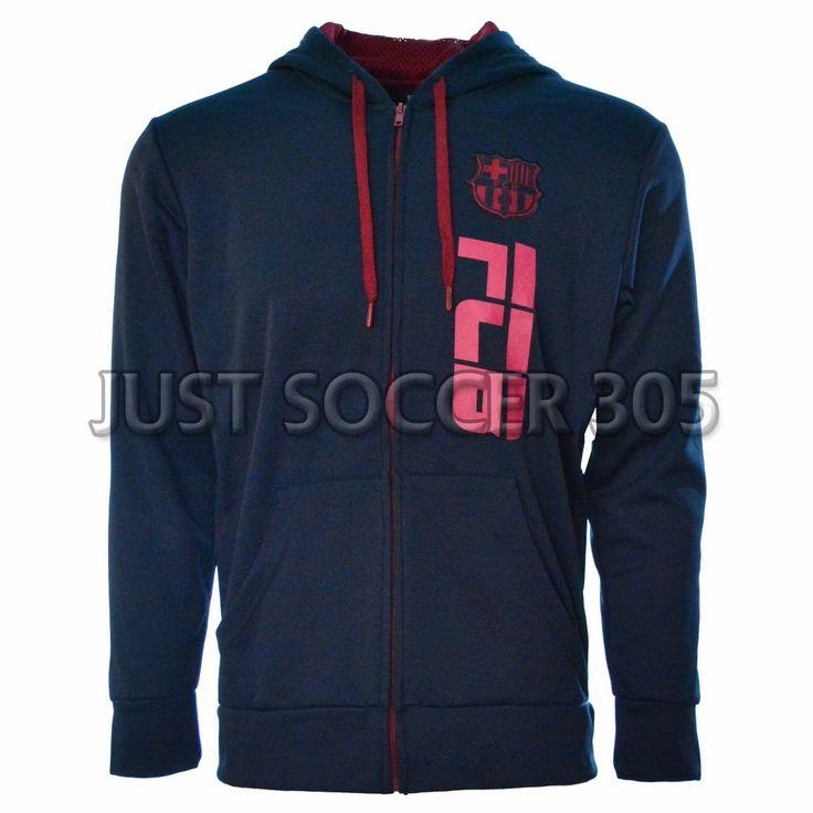 Fc Barcelona Hoodie Zip Up Jacket fleece  Soccer Adult Sizes Soccer Navy #HKY #FCBarcelona