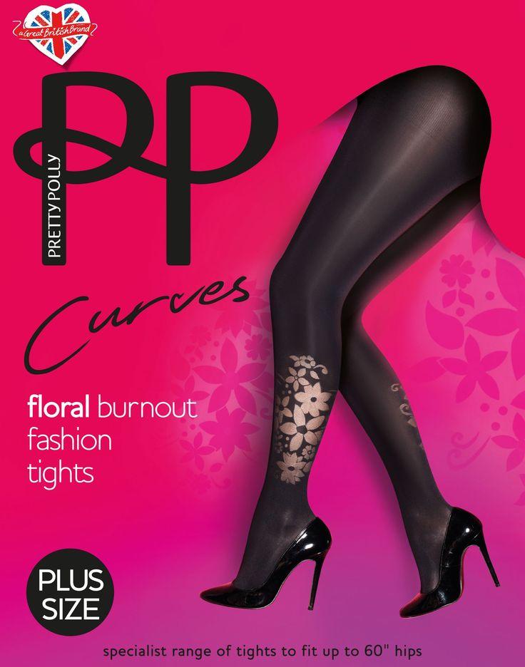 """Flower Placement tights. Deze leuke 40 denier panty uit de """"Curves"""" serie is speciaal voor dames met een maatje meer!"""