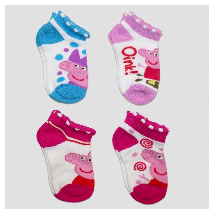 Toddler Girls' Peppa Pig 4pk No Show Socks - White 12-24M