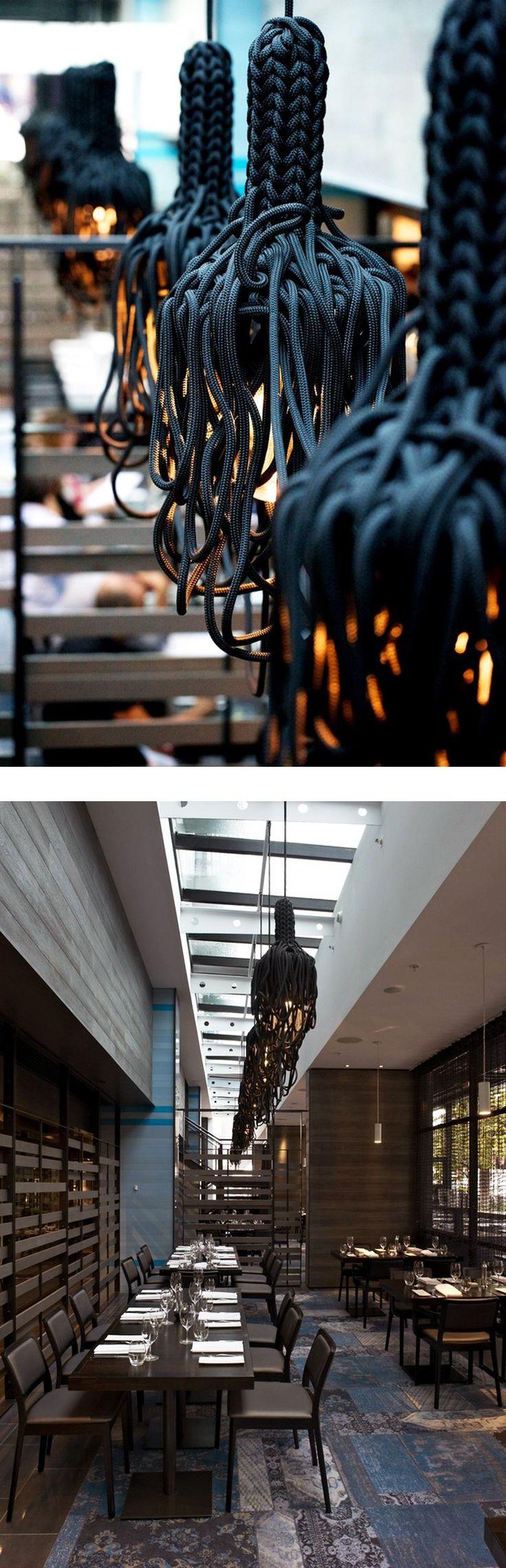Rope pendant lights - nautical theme -The Atlantic Restaurant, Melbourne - BlackMilk interior design