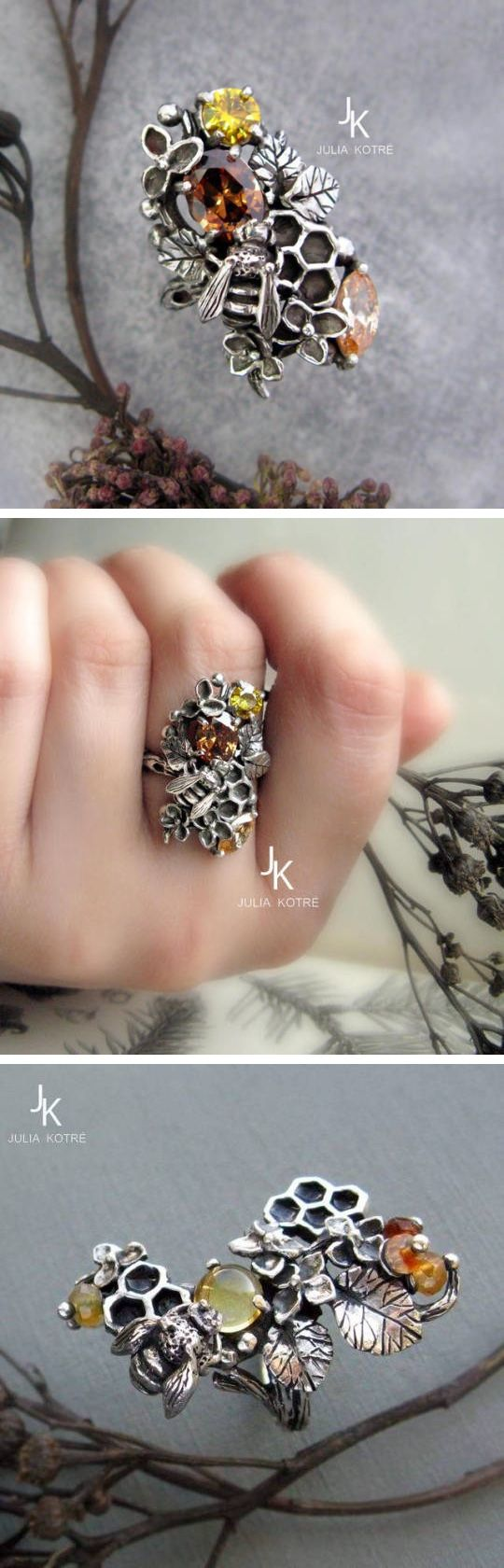 One-of-a-Kind Hand-Sculpted Honeycomb Rings byJulia Kotré