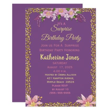 floral surprise birthday party invitations