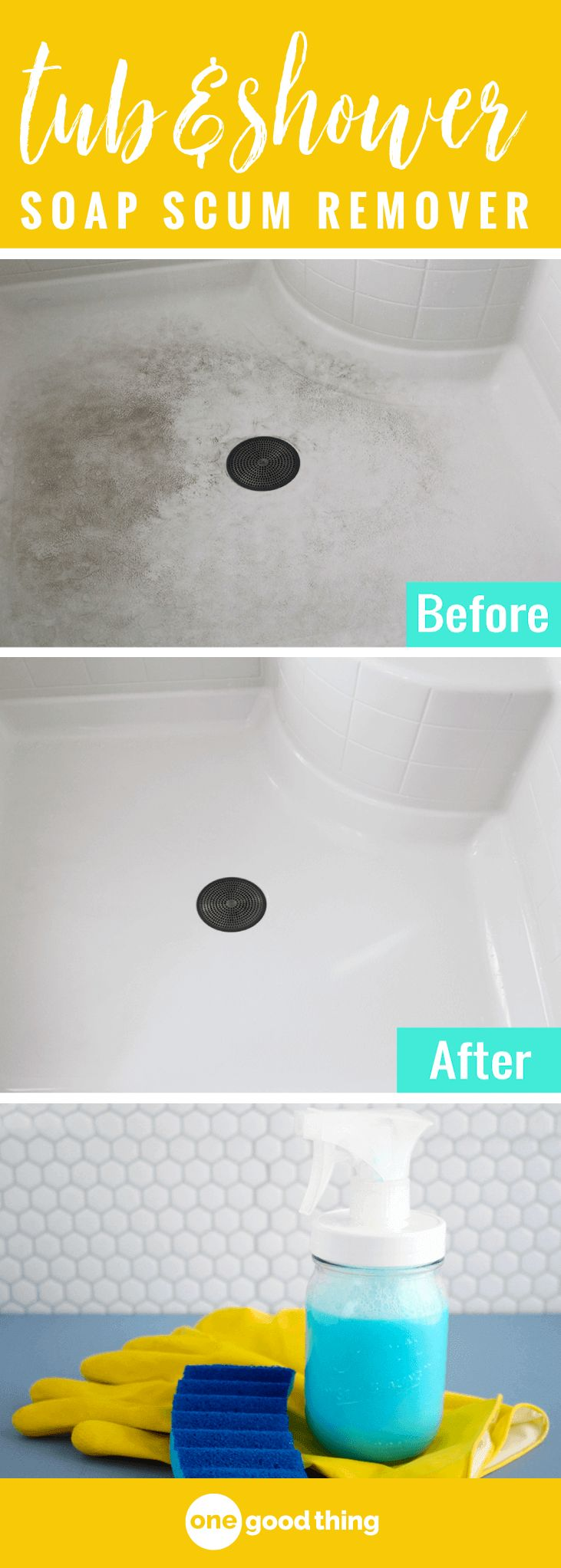 This homemade shower & tub cleaner cuts through stubborn soap scum like nobody's business, clinging to walls & floors rather than running down the drain. #cleaningtips #diycleaners