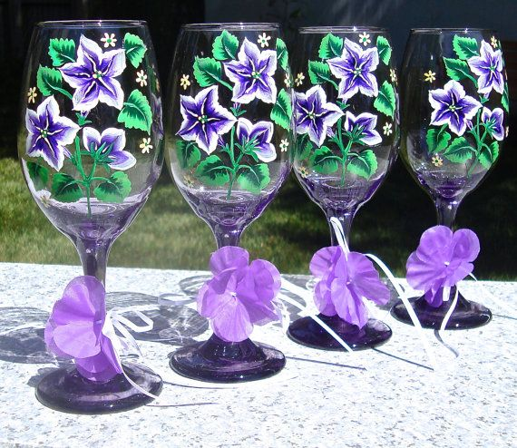 Hand Painted Purple Wine Glasses With Purple and by ipaintitpretty