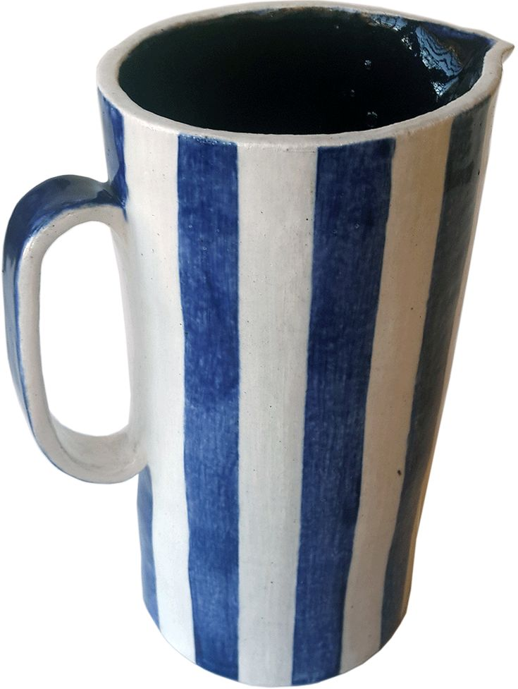 Blue & white striped jug - handmade, ceramic, dishwasher safe. Rowena Quinan