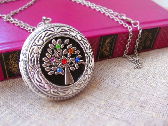 Personalized Family tree Birthstone locket by BountifulSunflower