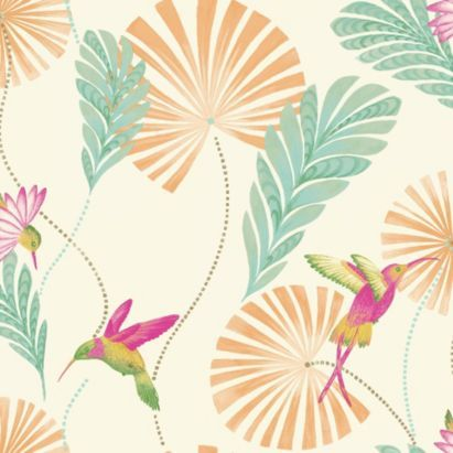 Use this statement humming bird wallpaper to create a feature wall, it will really change the energy of the room! #August #wallpaper