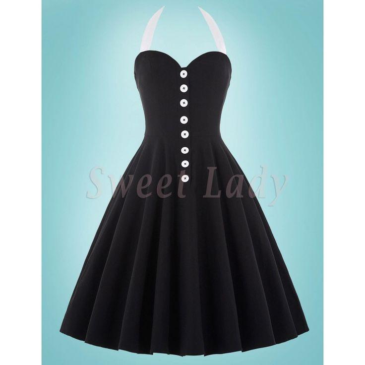 Štýlové čierne vintage šaty so širokou sukňou