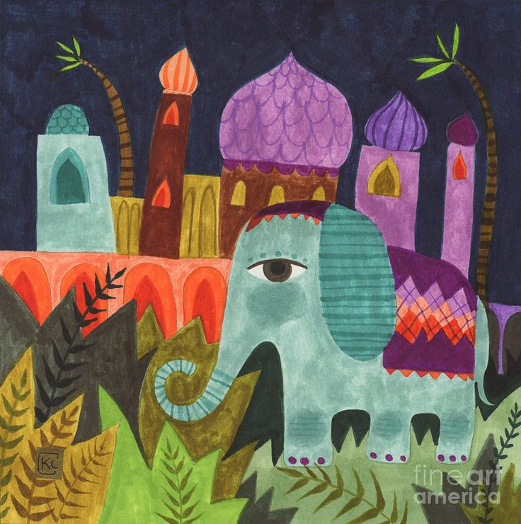 India Elephant Painting by Kate Cosgrove - India Elephant Fine Art Prints and Posters for Sale