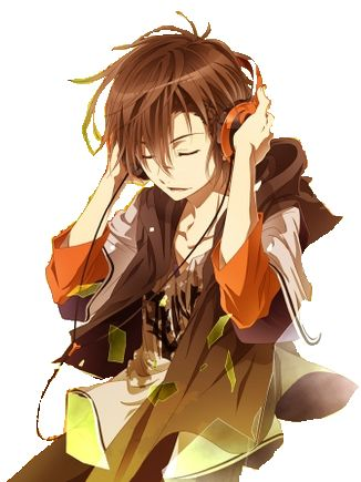 Brown hair anime boy with headphones