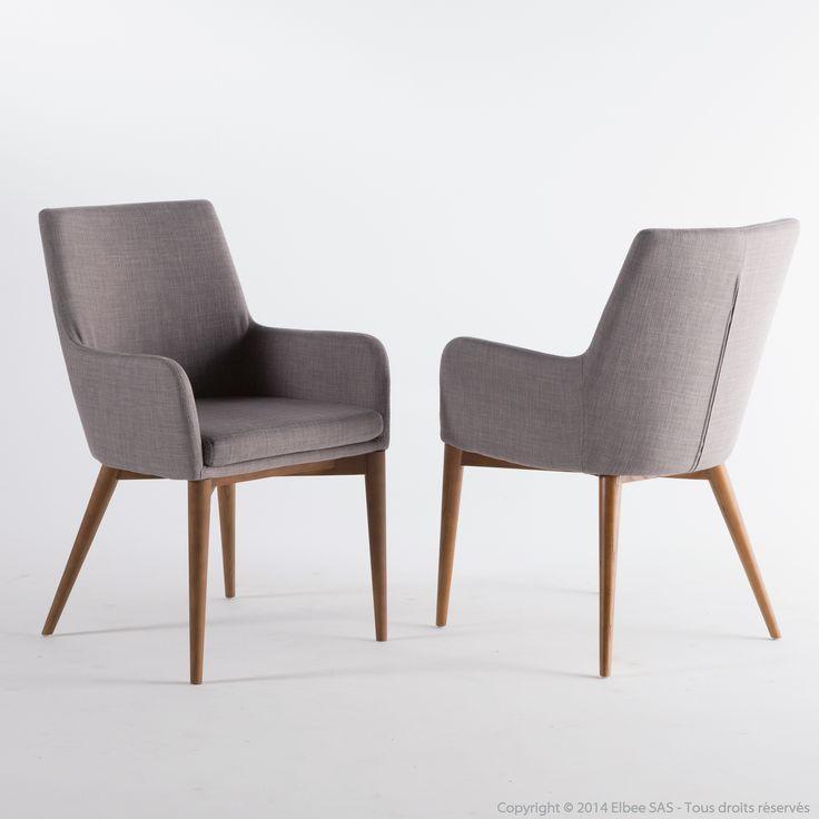 Chaise avec accoudoirs en tissu gris clair avec piètement bois Lot de 2 MONROE kaligrafik port offert