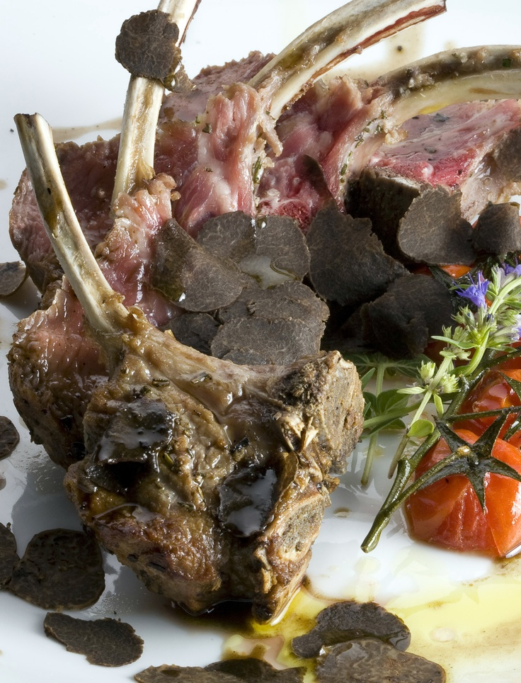 Lamb Chops with Whole Black Summer Truffle