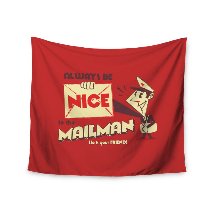 "Roberlan ""Be Nice To The Mailman"" Red Tan Wall Tapestry"