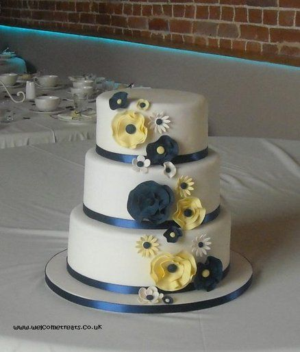 Abstract Flowered Navy & Yellow Wedding Cake