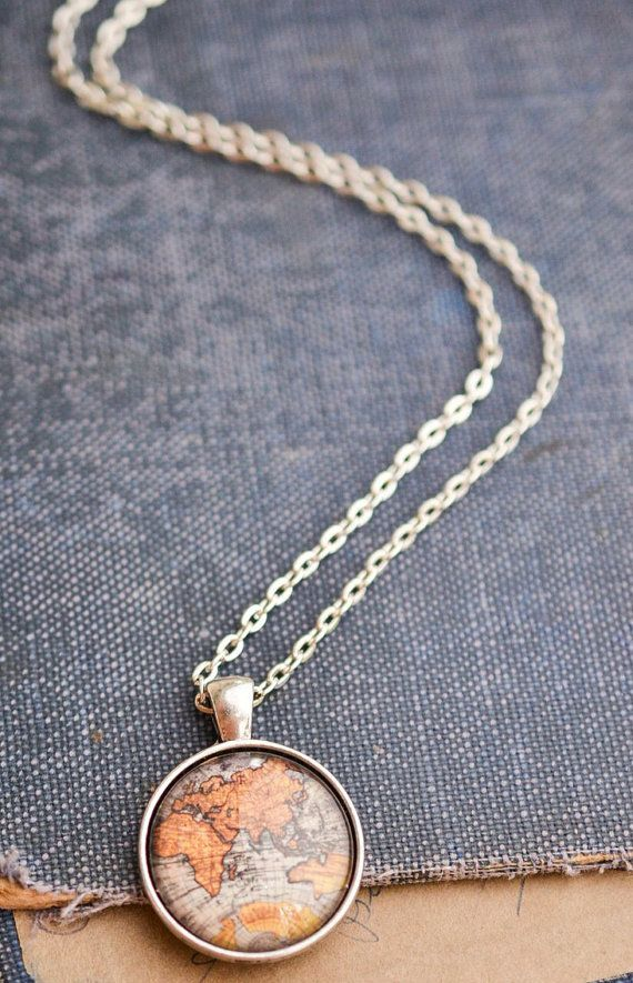 225 best etsy shop livin freelys handmade jewelry images on world map necklace antique map necklace globe necklace wanderlust traveljewelry wanderlustjewelry gypsysoul gumiabroncs Gallery
