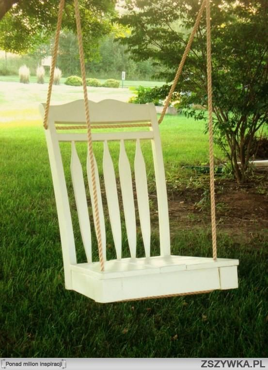 A chair with broken legs? Great DIY #GardenSwing !!