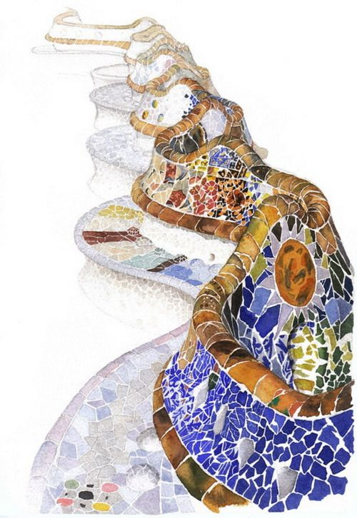 The watercolor work of Ya-Ong Nero, Korea. Gaudi Wall, somewhere in Barcalona
