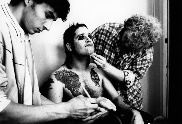 'Bark at the Moon' 1983 Osbourne with Greg Channon, makeup artist on Nightmare on Elm Street, doing makeup for the Bark at the Moon album cover session in September, 1983.    Read more: http://www.rollingstone.com/music/pictures/ozzy-osbourne-photos-20020702/bark-at-the-moon-1983-0302105#ixzz2mTRfkwWe  Follow us: @Michelle Rolling Stone on Twitter | RollingStone on Facebook