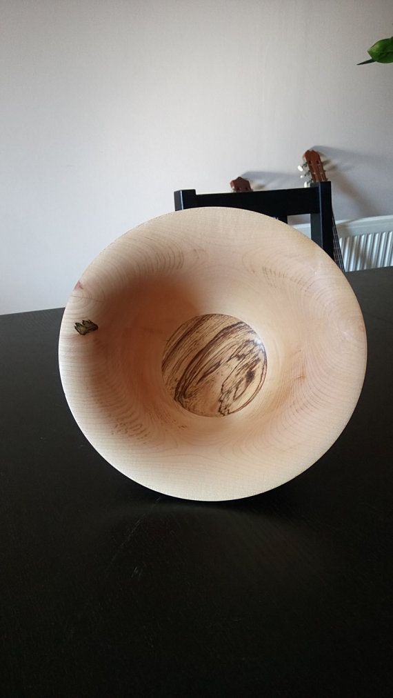 Ash Bowl with Zebrawood Inlay by FromTheHeartWoodMK on Etsy