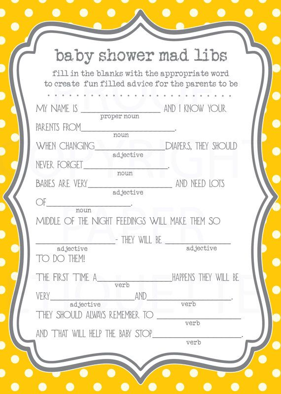 image relating to Baby Shower Mad Libs Printable called Child Shower Insane Lib Printable - Little one Shower Invites